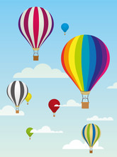 Hot Air Balloons. Group Of Colorful Balloons And Clouds In The Sky
