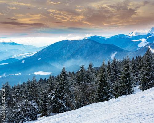 winter scene in mountains - 128762423