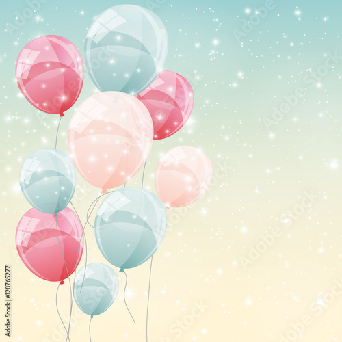 Fototapeta Color Glossy Balloons Background Vector Illustration