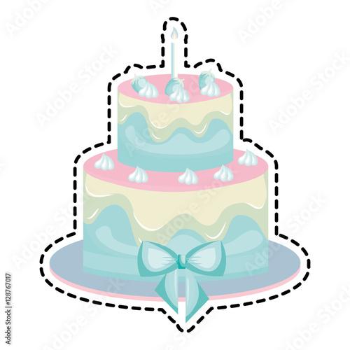 Sweet Birthday Cake Card Vector Illustration Design Acheter Ce