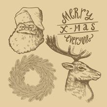 Vintage Cristmas Symbols Drawing Set. Santa Claus Face. Pine Wreath Drawing. Reindeer Engraving. Merry X-mas Everyone.