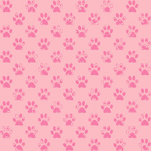 Spattered Paw Prints In Pink, Dark On Lighter, A Seamless Background Pattern