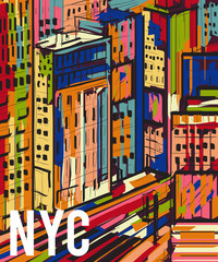 Obraz New York. Abstract colorful hand drawn night city landscape. Vector illustration in pop art style