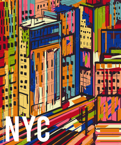 New York. Abstract colorful hand drawn night city landscape. Vector illustration in pop art style - 128773417