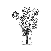 Flowers Inside Mason Jar Icon. Decoration Floral Nature And Plant Theme. Isolated Design. Vector Illustration