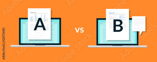 Fotografia  AB Testing to growth business revenue, sales, visitor with orange background
