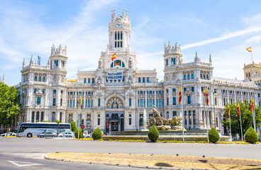 MADRID, SPAIN - JUNE 25, 2016: Communications Palace from Plaza de Cibeles, Madrid, Spain