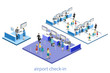 Isometric flat 3D vector interior of airport check-in.