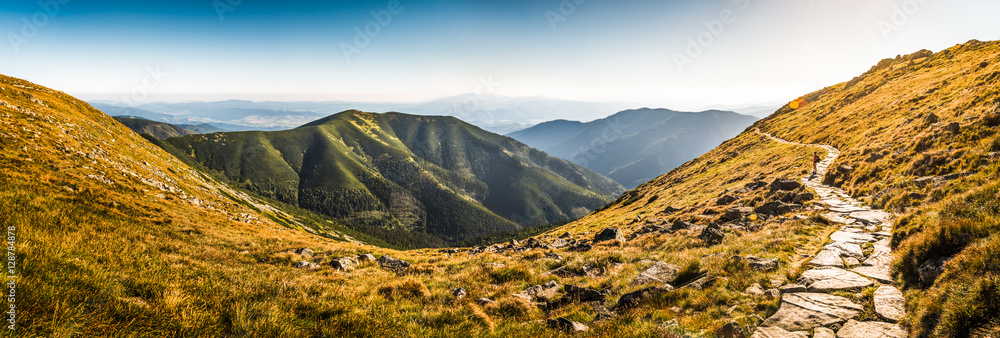 Fototapety, obrazy: Rocky Hiking Trail in the Mountains on Sunny Day. Low Tatras Ridge, Slovakia.