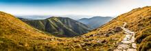 Rocky Hiking Trail In The Mountains On Sunny Day. Low Tatras Ridge, Slovakia.