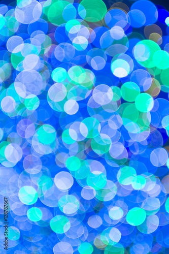 Abstract Blue Green Holiday Christmas Lights Background In