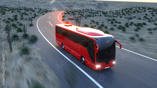 touristic red bus on highway Canvas Print