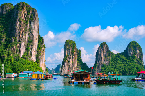 Poster de jardin Lieu connus d Asie Floating fishing village and rock island in Halong Bay, Vietnam, Southeast Asia. UNESCO World Heritage Site. Junk boat cruise to Ha Long Bay. Landscape. Popular landmark, famous destination of Vietnam