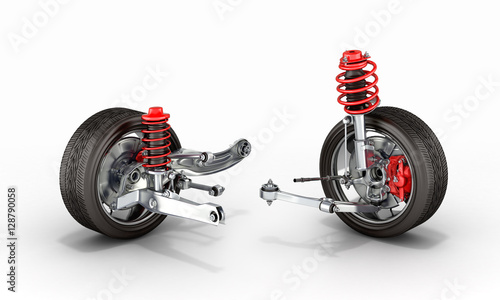 Stampa su Tela suspension of the car with wheel 3d