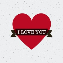 Red Heart With Black Ribbon Over White Background. I Love You Card. Colorful Design. Vector Illustration
