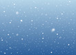 Falling snow on blue background. Vector image. Abstract snowflake background. Winter composition with glowing elements. Snowfall in motion. Template in seasonal style for your design. Snowy horizontal