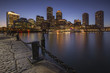 Boston skyline from the Boston harbor during the blue hour, New England