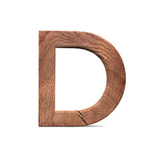 3D Decorative Wooden Alphabet, Capital Letter D