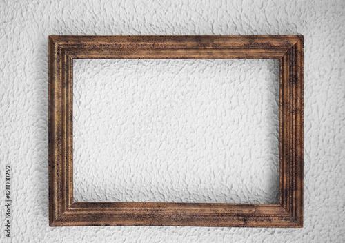 Fotografie, Obraz  Wooden vintage frame on color wall