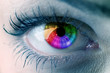 eye close up with colors of rainbow