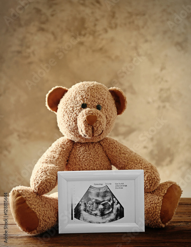 Teddy Bear Holding Photo Frame With Ultrasound Picture Of Baby On