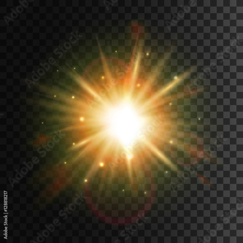 Obraz Shining star. Bright sun light lens flare effect - fototapety do salonu