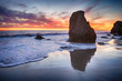 EL Matador State Beach Sea Stacks and reflection in the surf at sunset