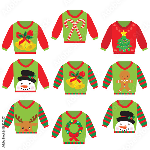 Ugly christmas sweater vector cartoon illustration , Acheter