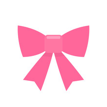 Pink Bow Simple Flat Icon