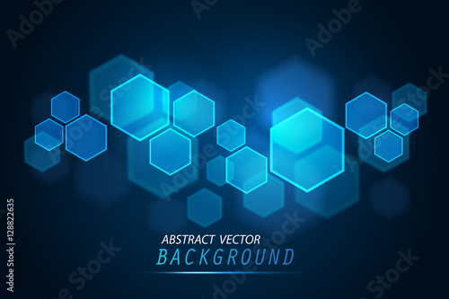 Obraz Abstract of tech innovation hexagon - fototapety do salonu