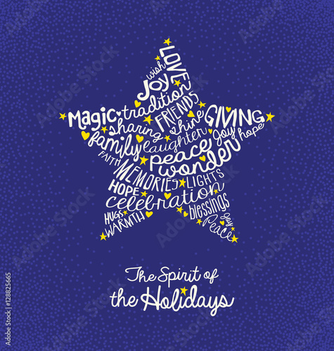 Christmas greeting card with inspiring handwritten words in star christmas greeting card with inspiring handwritten words in star shape m4hsunfo