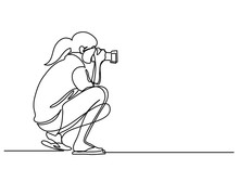 Continuous Line Drawing Of Woman Making Photos With Camera