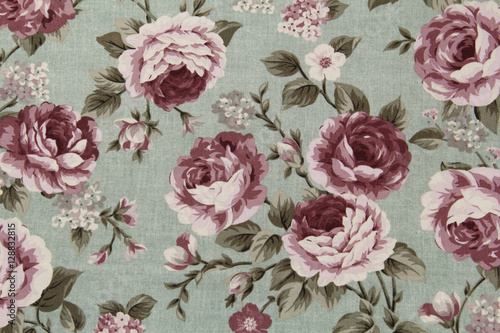 Fleurs Vintage Colorful Cotton fabric in vintage rose pattern for background or