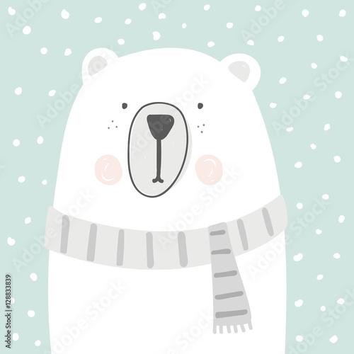 szkic wektor kreskówka niedźwiedź polarny