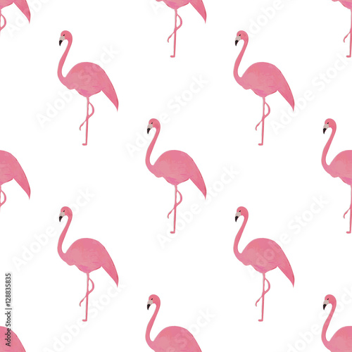 Canvas Prints Flamingo Bird Flamingo isolated on white background. Hand-drawn vector illustration.