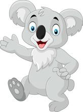 Cartoon Funny Koala Isolated On White Background