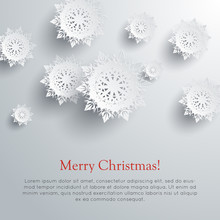 Merry Christmas Snowflakes Background. Vector
