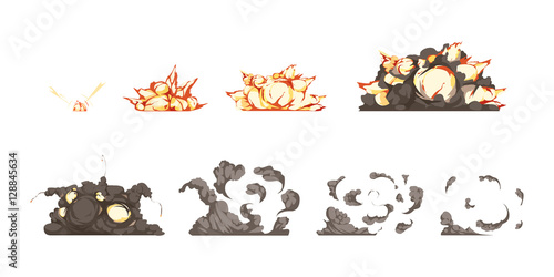 Valokuvatapetti Explosion Animation Icons Set
