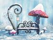 Zimowa sceneria z ławką, magiczną latarnią i czerwonymi grzybami