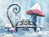 Fototapeta Pokój dzieciecy - Zimowa sceneria z ławką, magiczną latarnią i czerwonymi grzybami