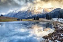 Beautiful Mountain Landscape. Dolomite Mountains, A Frozen Lake