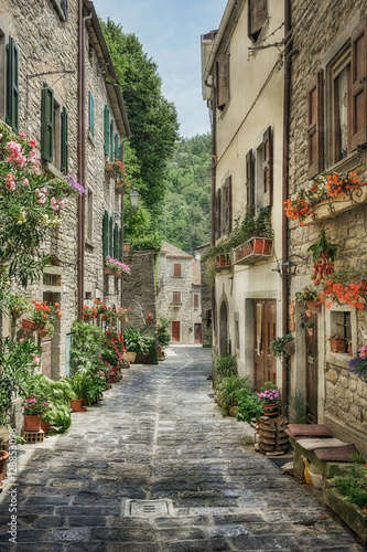 Deurstickers Smal steegje Narrow old street with flowers in Italy