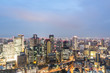 Osaka skyline at dusk in Japan