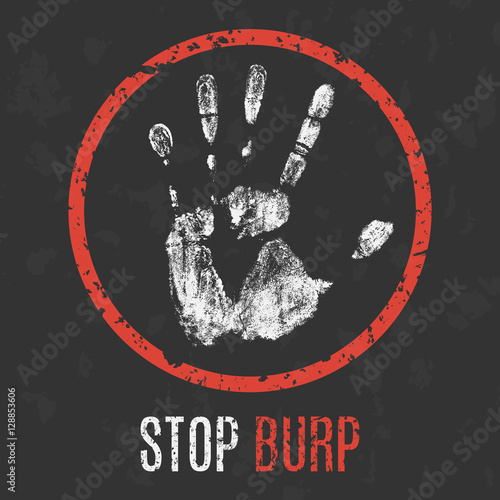 Photo  Vector illustration. The bad character traits. Stop burp.