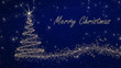 Golden Christmas Card on blue Background