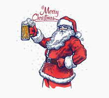 Jolly Santa Claus With A Beer ...