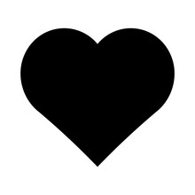 Black Heart Vector Icon.