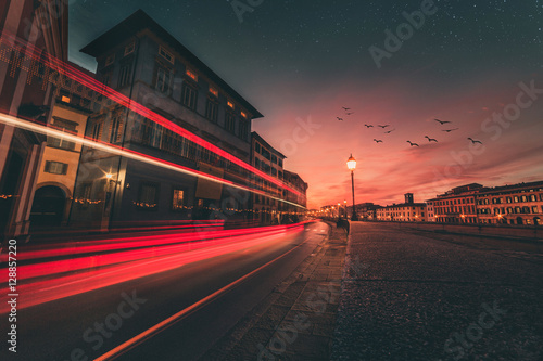 Traffic lights in the street long exposure Wallpaper Mural