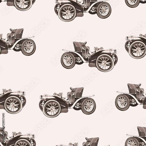 Fotografia  Vintage car seamless pattern, old retro drawing machine, cartoon vector background, monochrome