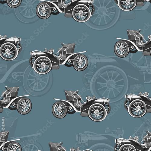 rocznika-samochodowy-bezszwowy-wzor-stara-retro-czarny-i-bialy-rysunkowa-maszyna-kreskowka-wektoru-tlo-do-projektowania-tapet